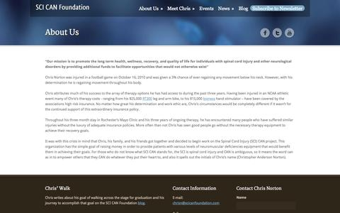 Screenshot of About Page scicanfoundation.com - About Us - The SCI CAN Foundation - captured Sept. 30, 2014