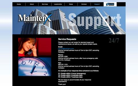 Screenshot of Support Page mainten-x.com - MaintenX | Support and Services for All Your Maintenance Needs - captured Oct. 4, 2014