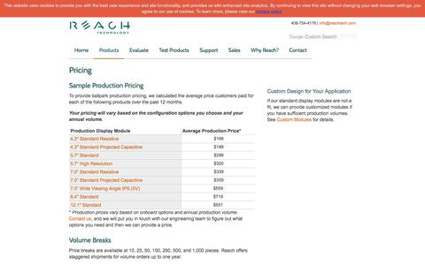 Screenshot of Pricing Page reachtech.com - Touch Screen Cost and Production Pricing | Reach Technology - captured Nov. 2, 2019