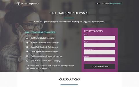 Screenshot of Landing Page calltrackingmetrics.com - Call Tracking Software - captured Sept. 27, 2016
