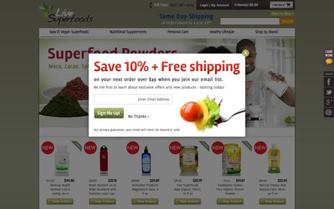 Screenshot of Home Page livesuperfoods.com - The Raw Organic Vegan Superfoods Superstore - Live Superfoods - captured Oct. 5, 2015