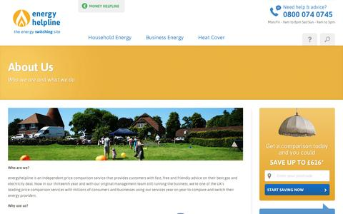Screenshot of About Page energyhelpline.com captured Nov. 15, 2016