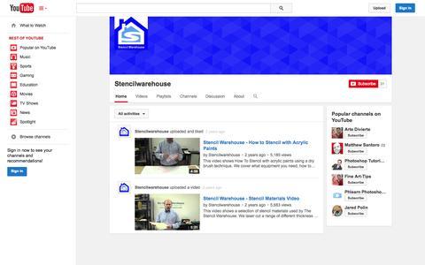 Screenshot of YouTube Page youtube.com - Stencilwarehouse  - YouTube - captured Nov. 5, 2014