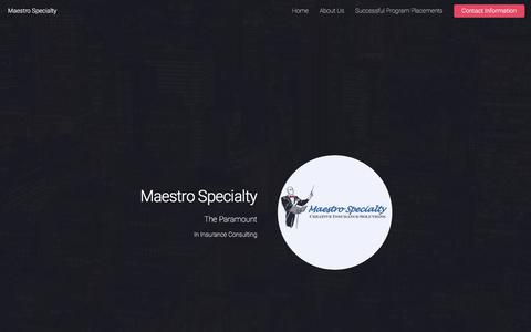 Screenshot of Home Page maestrospecialty.com - Maestro Speciality | Creative Insurance Solutions - captured Sept. 25, 2017