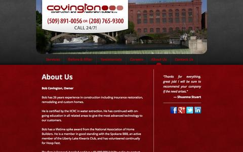 Screenshot of About Page ccnr.biz - About Us | Covington Construction & Restoration - captured Oct. 27, 2014