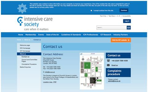Screenshot of Contact Page ics.ac.uk - The Intensive Care Society - Contact us - captured Oct. 6, 2014