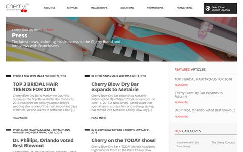 Screenshot of Press Page cherryblowdrybar.com - Cherry Blow Dry Bar News & Press - captured July 17, 2018