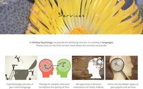 Screenshot of Services Page shibleypsychology.com - Services - captured Oct. 20, 2018
