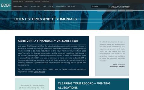 Screenshot of Testimonials Page bdbf.co.uk - Client Stories & Testimonials » BDBF LLP - captured Oct. 6, 2018