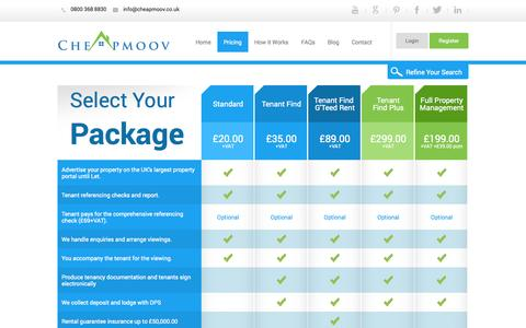 Screenshot of Pricing Page cheapmoov.co.uk - Pricing - Cheapmoov - captured Sept. 22, 2014