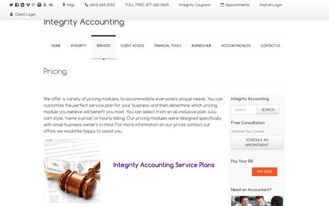 Screenshot of Pricing Page integrityaccountinggroup.com - Our Prices   Integrity Accounting - captured Nov. 26, 2016