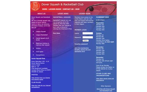 Screenshot of Home Page dover-squash-club.co.uk - Kent Squash Club - Dover Squash and Racketball Club, Kent, UK - captured Oct. 22, 2018