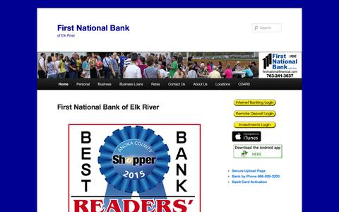 Screenshot of Home Page fnber.com - First National Bank | of Elk River - captured Feb. 10, 2016