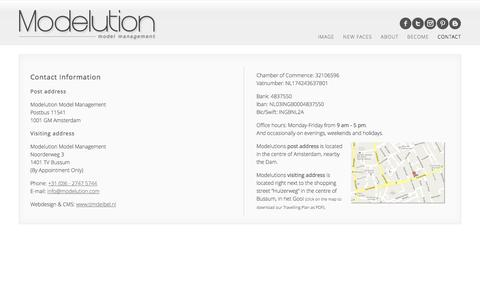 Screenshot of Contact Page modelution.com - Modelution Model Management | Contact our Model Agency - captured Oct. 6, 2014
