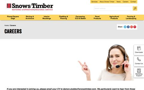 Screenshot of Jobs Page snowstimber.com - Careers   Snows Timber - captured July 7, 2017