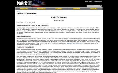 Screenshot of Terms Page kleintools.com - Terms & Conditions   Klein Tools - For Professionals since 1857 - captured Sept. 19, 2014