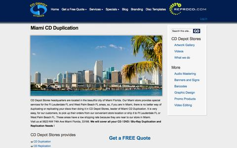 Screenshot of Locations Page cddepotstores.com - DVD / CD Duplication and Replication - Miami FL - captured Sept. 26, 2014