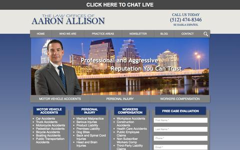 Screenshot of Home Page aaronallisonlawfirm.com - Hurt in ATX? Austin Personal Injury Attorney Born & Raised - captured Sept. 10, 2015
