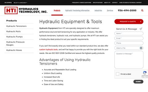 Screenshot of Products Page htico.com - Hydraulic Tensioning Equipment - Bolt Tensioning Tools | Hydraulics Technology, Inc. - captured Nov. 11, 2018