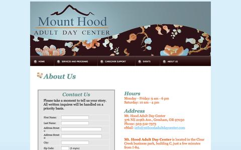 Screenshot of About Page Contact Page Hours Page mounthoodadultdaycenter.com captured Oct. 26, 2014