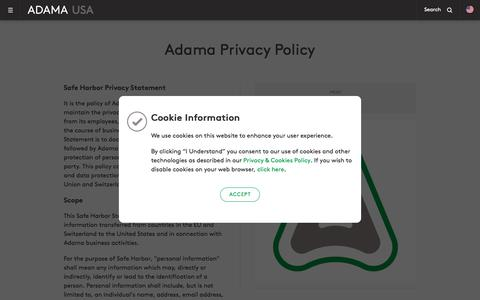 Screenshot of Privacy Page adama.com - Privacy Policy and Legal Terms   Adama USA - captured Oct. 5, 2017