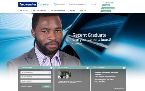 Screenshot of Jobs Page faurecia.com - FAURECIA CORPORATE CAREERS - captured Sept. 19, 2014