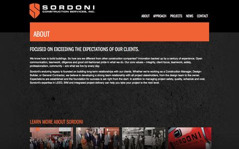 Screenshot of About Page sordoni.com - About | Sordoni Construction - captured Oct. 6, 2014
