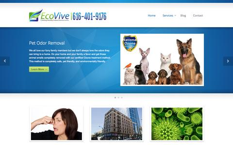 Screenshot of Home Page Services Page eco-vive.com - Sanitizing and Odor Removal   Grand Rapids, MI - Eco Vive - captured Oct. 2, 2014