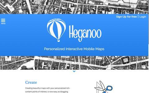 Screenshot of Home Page heganoo.com - Heganoo | Personalized Interactive Mobile Maps - captured Jan. 19, 2015