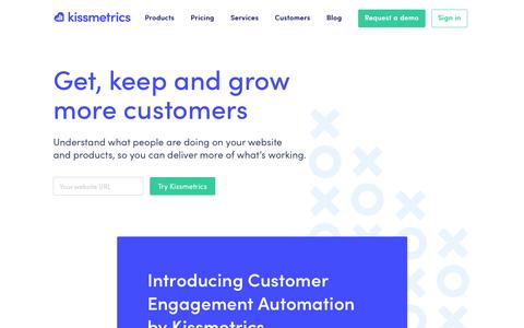 Screenshot of Home Page kissmetrics.com - Kissmetrics | Behavioral analytics and engagement platform - captured May 10, 2017