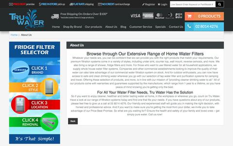 Screenshot of About Page truwater.com.au - About Us : Best House Water Filter Systems – Tru Water (Aust) - Get cleaner & healthier household water supply by ordering home water filters from Tru Water (Aust). Check out our range of water filter systems today. - captured Nov. 14, 2017