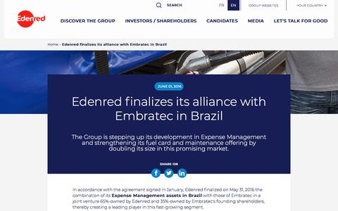 Screenshot of Press Page edenred.com - Edenred finalizes its alliance with Embratec in Brazil - captured July 8, 2019
