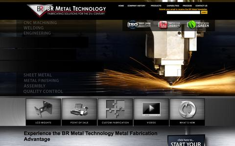 Screenshot of Home Page brmetal.com - Custom Metal Fabrication | CNC Machining | Rapid Prototyping Services | Custom Sheet Metal Fabricators | LCD Mounts | Point of Sale Mounts  | BR Metal Technologies for Fabricating Solutions - captured Oct. 4, 2014