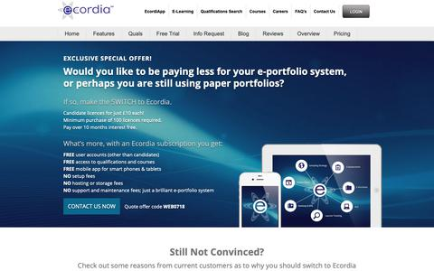 Screenshot of Pricing Page ecordia.co.uk - Ecordia Special Offer — Ecordia - captured Sept. 27, 2018