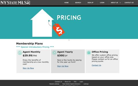 Screenshot of Pricing Page nystatemls.com - Pricing — NY State MLS Real Estate Services - captured Nov. 30, 2016