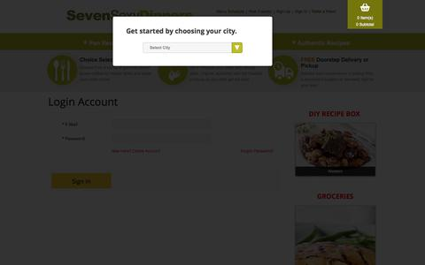 Screenshot of Login Page sevensexydinners.com - Login to Order Food Online | Food delivery service Toronto - captured Oct. 1, 2014