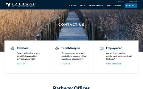 Screenshot of Contact Page pathwaycapital.com - Contact Us | Pathway Capital Management - captured Aug. 28, 2019