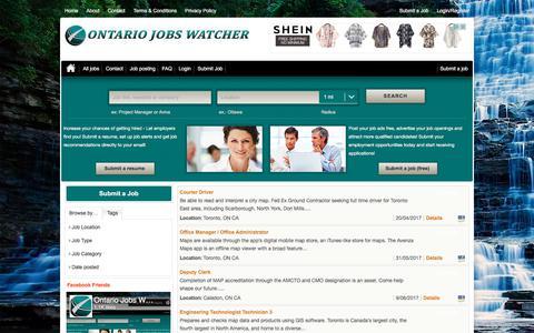 Screenshot of Maps & Directions Page ontariojobswatcher.com - map - Ontario Jobs Watcher - captured June 12, 2017