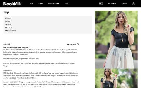 Screenshot of FAQ Page blackmilkclothing.com - FAQs – Black Milk Clothing - captured Oct. 1, 2015