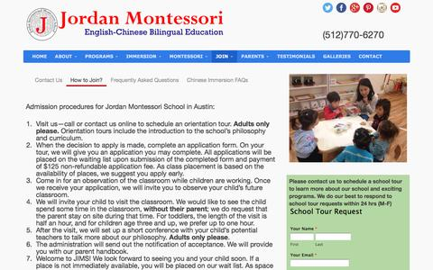 Screenshot of Signup Page jordanmontessori.com - Join Jordan Montessori Chinese PreSchool in Austin - captured May 5, 2017