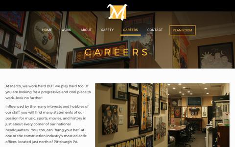 Screenshot of Jobs Page marcocontractors.com - Careers – Marco Contractors - captured Oct. 17, 2017
