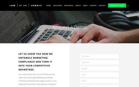 Screenshot of About Page lawofthejungle.com.au - Request a Demo Today! - Law of the Jungle Marketing - captured July 21, 2017