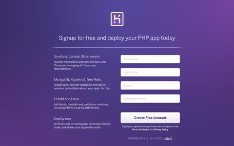 Screenshot of Landing Page heroku.com - Heroku | Sign up - captured Feb. 13, 2016