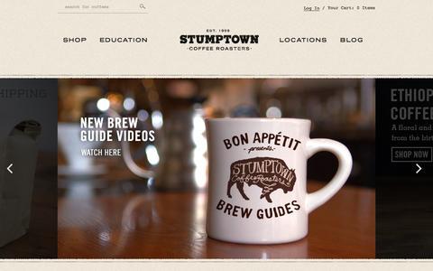 Screenshot of Home Page stumptowncoffee.com - Stumptown Coffee Roasters - captured Sept. 24, 2014