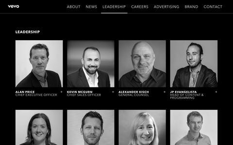 Screenshot of Team Page vevo.com - Leadership - captured Sept. 21, 2018