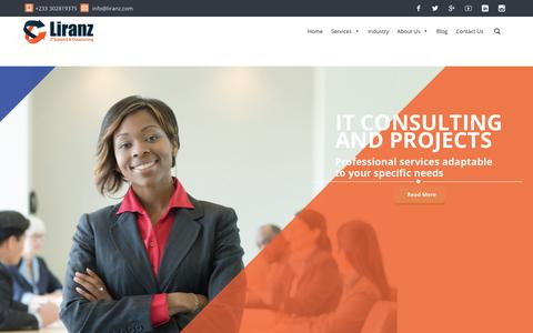 Screenshot of Home Page liranz.com - Liranz | Premier IT Support & Outsourcing Service Provider in Ghana - captured July 10, 2017