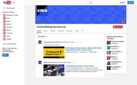 Screenshot of YouTube Page youtube.com - Central Mailing Services Ltd  - YouTube - captured Oct. 22, 2014