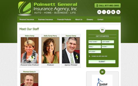 Screenshot of Team Page poinsettgeneral.com - Staff | Poinsett General Insurance Agency - captured Oct. 2, 2014