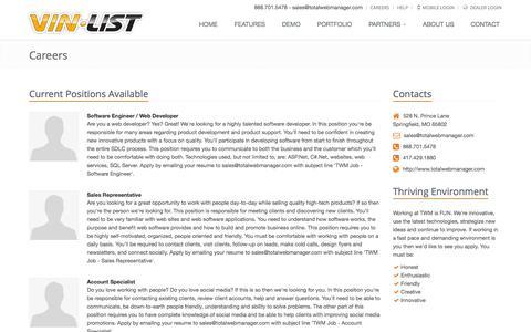 Screenshot of Jobs Page vinlist.com - Careers - VinList - Dealer Websites and Inventory Marketing - captured Oct. 9, 2014