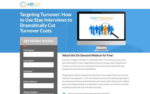 Screenshot of Landing Page hrsoft.com - Targeting Turnover: How to Use Stay Interviews to Dramatically Cut Turnover Costs - captured Sept. 6, 2016